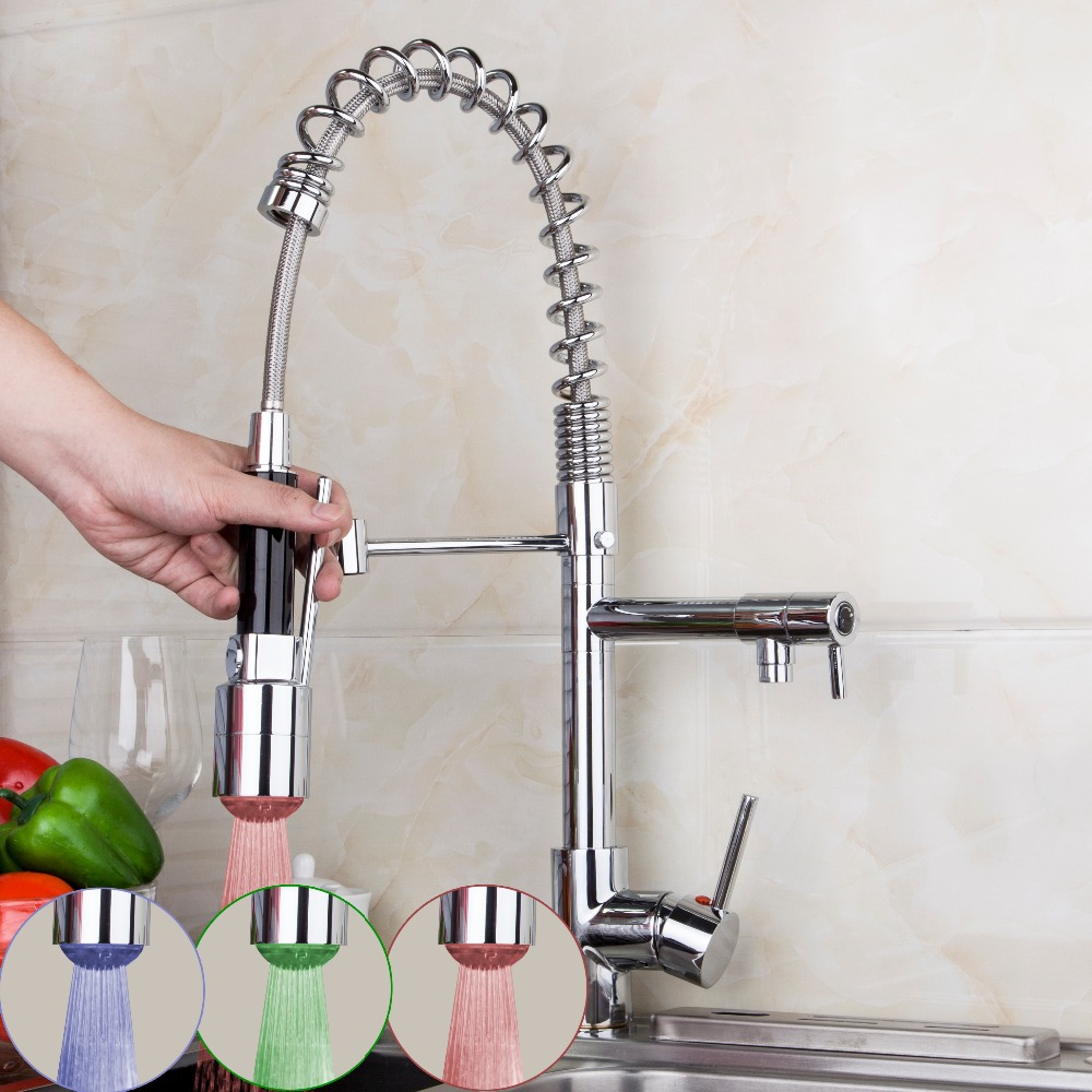 OUBONI Contemporary Deck Mounted Polished Chrome Kitchen LED Pull Out And Down Faucet Tap