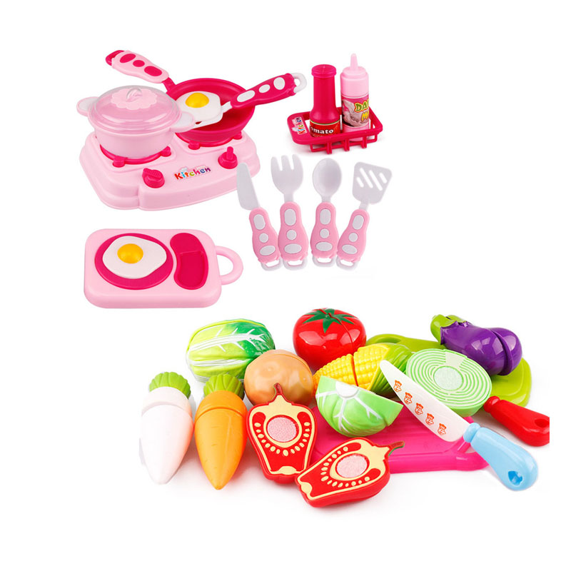 New Fruit Pretend Kitchen Cutting Set Fruit Vegetable Food Reusable Role Play Colorful Kids Kitchen toys set for girls