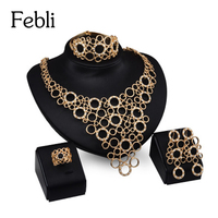 Febli Dubai Gold Color Jewelry Set For Women Parure Stylish Fashion Atmospheric Geometry Crystal Alloy Hot