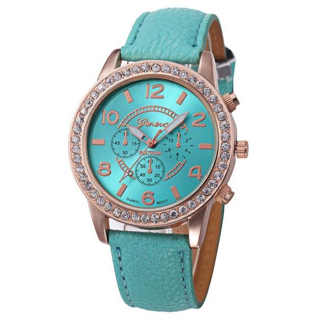 2018 New simple leather Geneva Casual Quartz Watch Women Crystal Diamond Watches Relogio Feminino Wrist Watch Hot sale #D