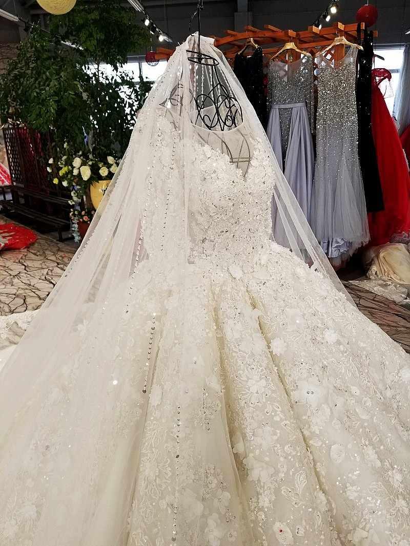 LS9879 свадебный халат2018 бальное платье свадебное платье с ручной работы цветы o шеи с длинными рукавами свадебные свадебные платья с длинным поездом как фотографии