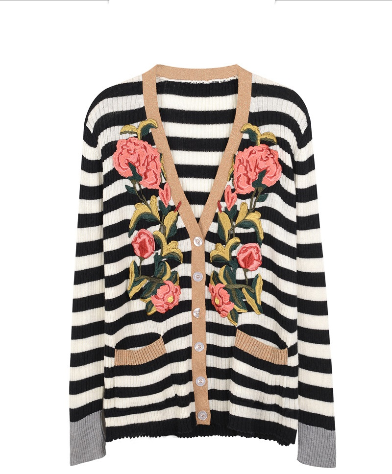 Ky&Q Vintage Floral Embroidery Sweater Women 2017 Autumn Winter Long Cardigan Female Striped Women Kitted Jeaket Jumper