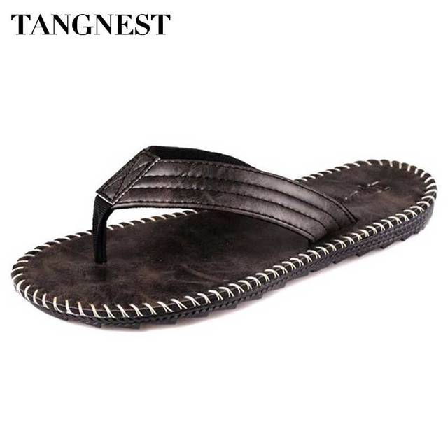 0a59f95fa7567e Tangnest Men Pu Leather Slippers 2018 Summer New Men Sandals Fashion Man  Beach Flip Flops Soft. Mouse over to ...