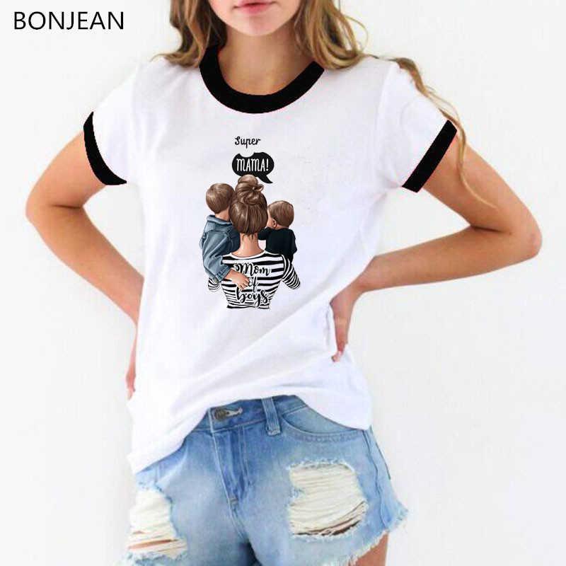 流行スーパーママ tシャツママと子供娘息子プリント tシャツファムママ生活グラフィック tシャツ女性白夏トップ tシャツ