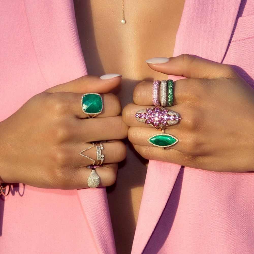 คุณภาพดีขนาดใหญ่สีเขียว cz แหวนค็อกเทล luxury gold ชุบสีเงินสำหรับสุภาพสตรีปาร์ตี้ gorgeous dainty cz เครื่องประดับ