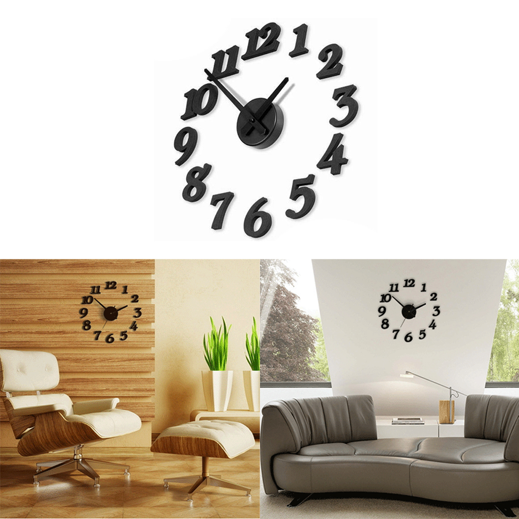 Hot Diy Wall Clock 3D Decoration Sticker Home Office Decor