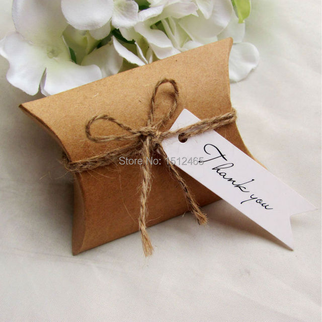 50sets Kraft Paper Pillow Box With Thank You Gift Tags Wedding Party Favor