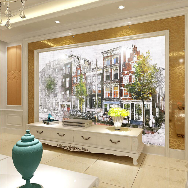 Decorative Wallpaper Florence Gothic Apartment Street View Wall Background