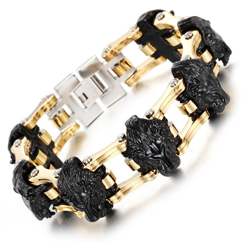 Cool hommes moto chaîne moto chaîne Bracelet Bracelet homme or noir tête de Lion en acier inoxydable bijoux livraison directe