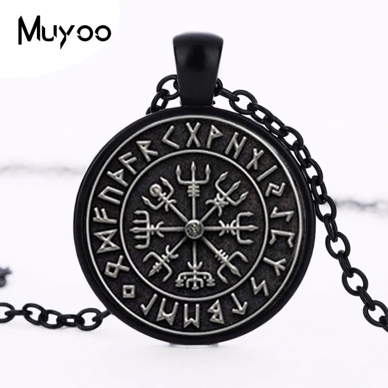 1pcs Vegvisir Viking Compass pendant jewelry Glass Cabochon Necklace HZ1