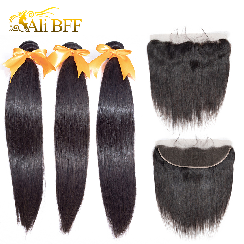 ALI BFF Frontal With Bundles Indian Straight Hair Bundles With Frontal 100% Human Hair Bundles With Frontal Remy Hair