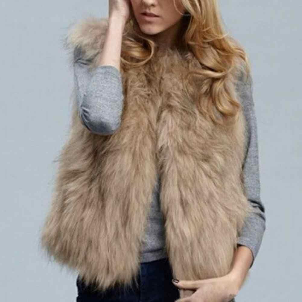 Жилет женский модный осенний и зимний теплый жилет из искусственного меха пальто одежда черный и хаки короткий женский жилет chalecos para mujer