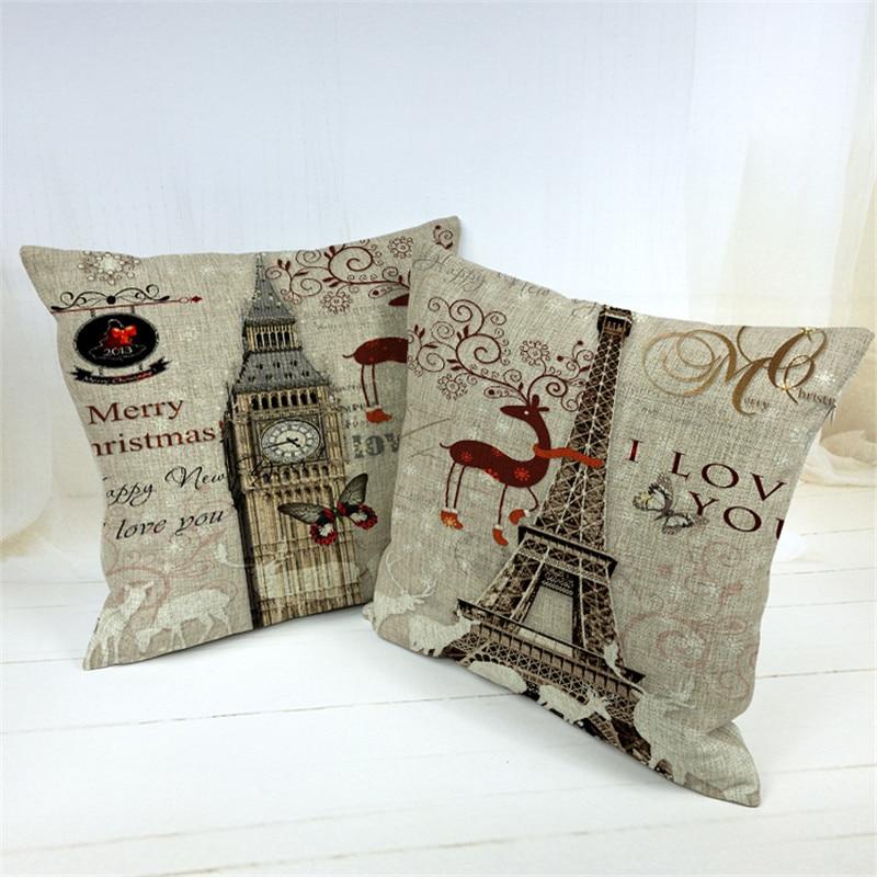 Car Covers Store Decorative Vintage Paris Eiffel Tower Cushion Cover  45*45cm Throw Pillow
