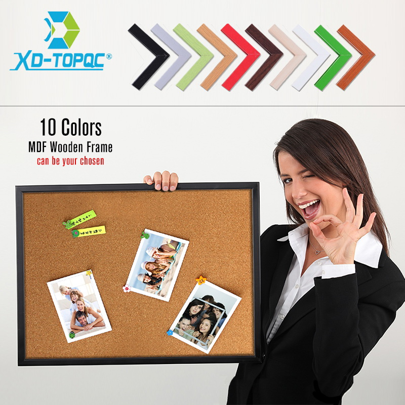 MDF Wood Framed Cork Board 60*45cm Message Boards High Quality 10 Colors Bulletin Board For Chosen Home Office Decorative