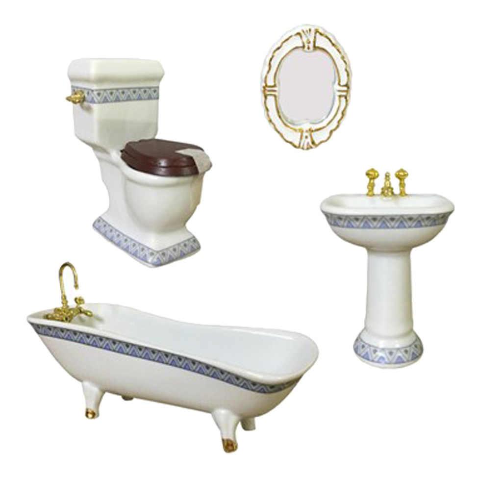 4 шт кукольный домик Миниатюрный фарфоровый набор мебели для ванной комнаты декор