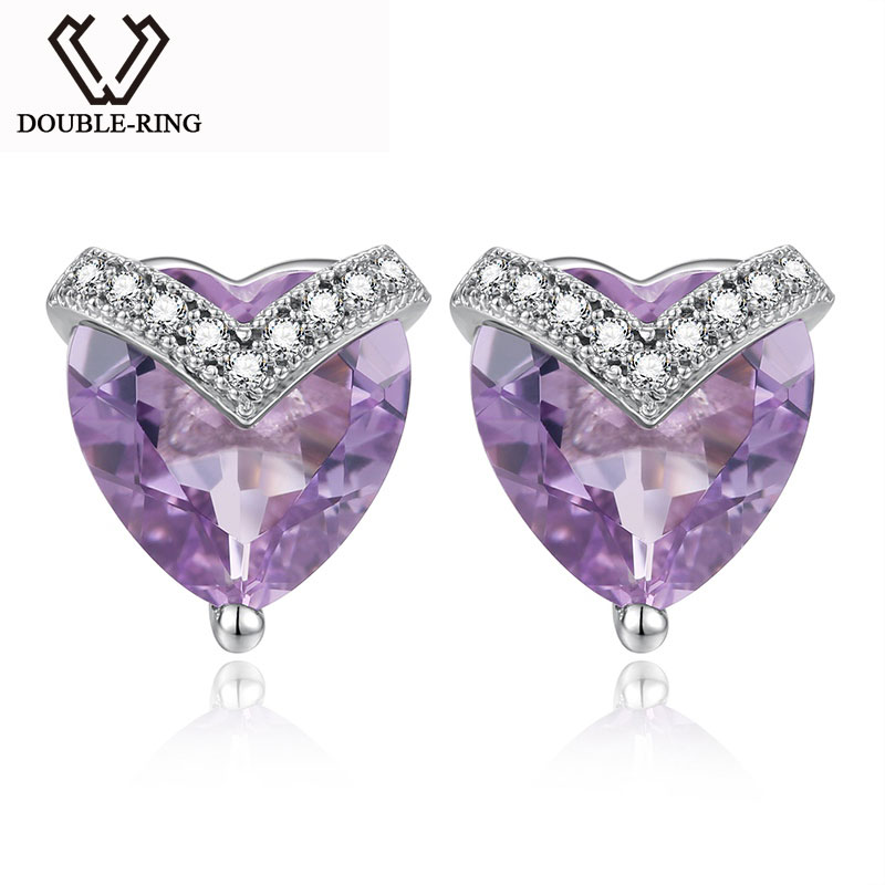 купить DOUBLE-R Natural Amethyst Gemstone 925 Sterling Silver Stud Earrings For Women Lovely Heart Earrings For Girls по цене 3167.32 рублей