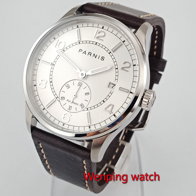 41mm Parnis wrist mechanical watches white Dial leather strap Automatic Sea gull st1731 Movement men s