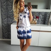 Fashion Dress Women 2018 New Plus Size Loose Summer Dress Fashion Casual Short Sleeve O-Neck Star Print Sexy Mini Beach Vestidos