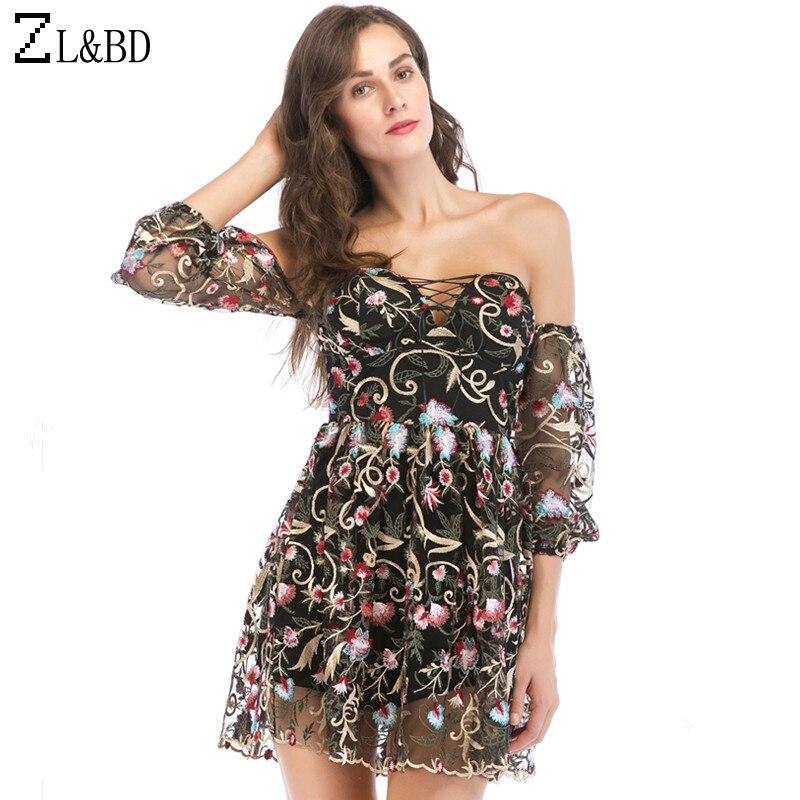 0791416fb7 ZL BD Sexy Off Shoulder Black Mesh Dress Women Floral Embroidery Lace  Ruffle Summer Dress Backless streetwear Short Dress ZA500-in Dresses from  Women s ...