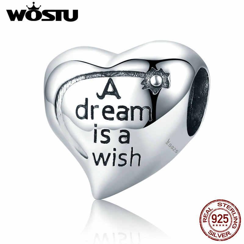 ขายร้อน 925 เงินสเตอร์ลิงหัวใจคงที่ Dream คือ WISH Charms ลูกปัดพอดีสร้อยข้อมือกำไลข้อมือแฟชั่นเครื่องประดับ C428