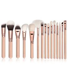 15pcs Pink Makeup Brushes Set Cosmetics Beauty Tools with Leather Case Pincel Maquiagem Powder Eye Make up Brush Complete Kit