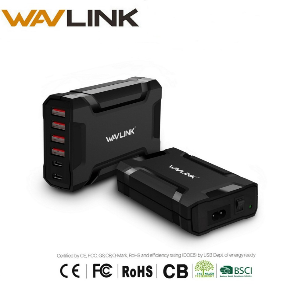 Wavlink 6 port USB Reise Ladegerät adapter 60 watt/12A Desktop Ladegerät Adapter USB C Schnelle Ladestation EU /UNS/UK für SmartPhone