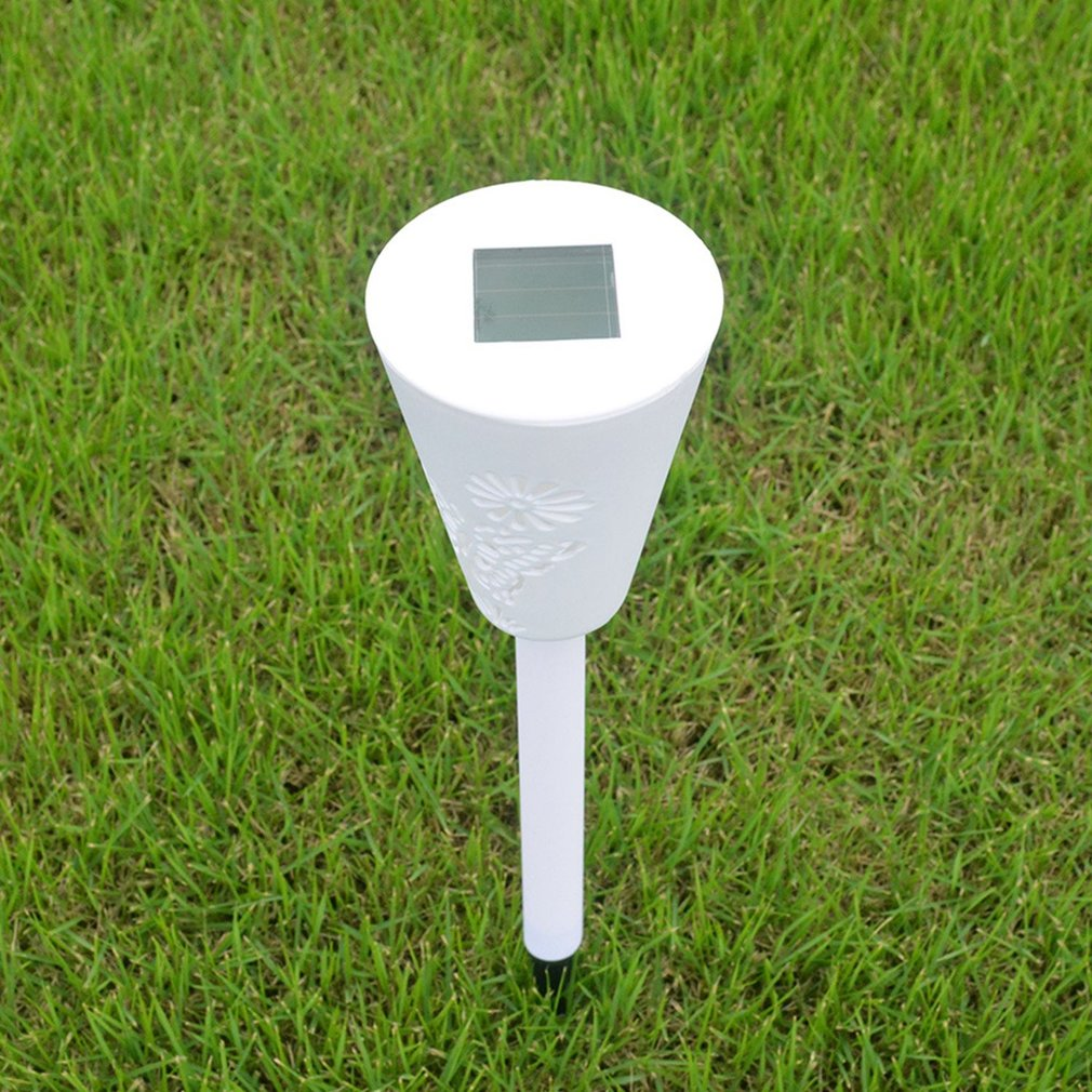 Solar Garden Ground Lamp White /&Colorful Hollowed Butterfly for Outdoor