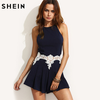 SheIn Sexy Jumpsuit For Ladies Navy Cut Out Sleeveless Playsuits Womens Summer Style Appliques Spaghetti Strap