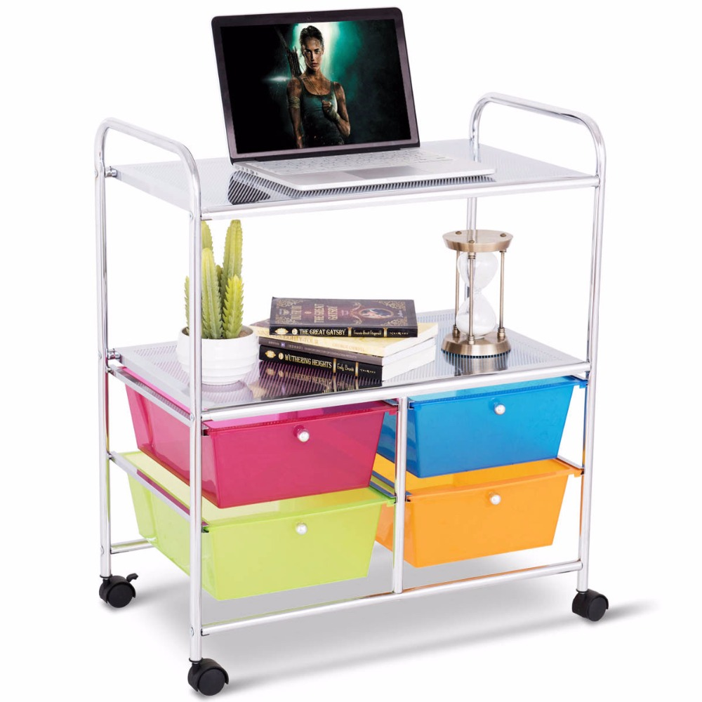 Giantex 4 Multifunctional Drawers Rolling Storage Cart Rack Shelves Shelf Home Office Home Furniture HW54070COLOR