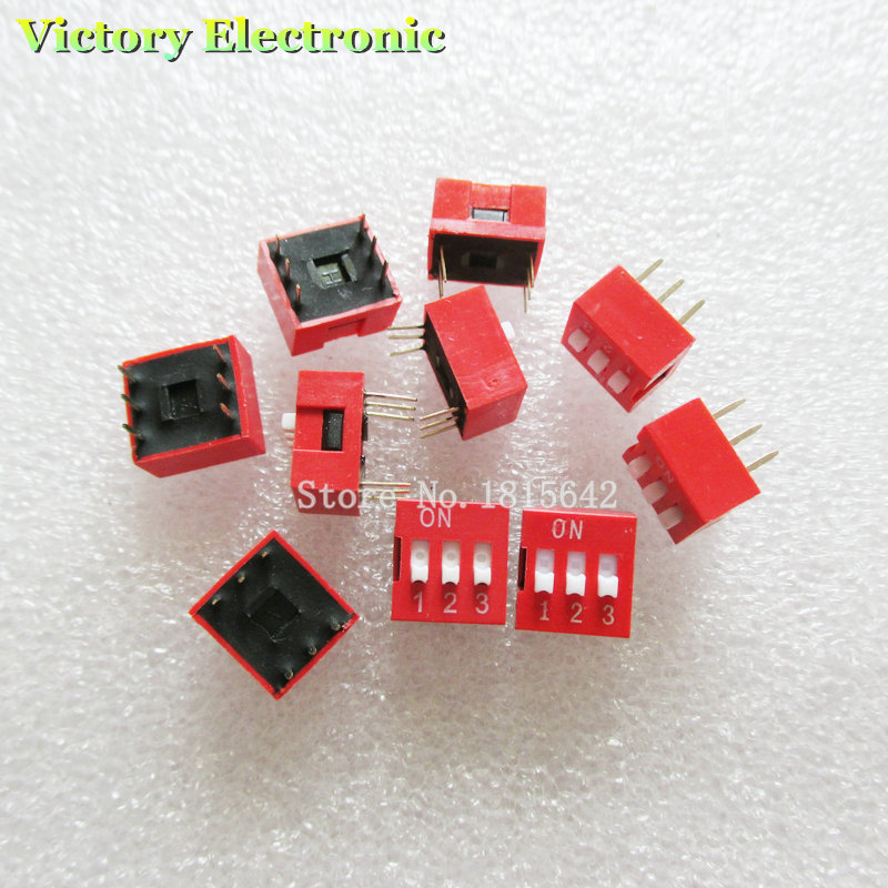 10PCS/Lot DIP Switch 3 Way 2.54mm Toggle Switch Red Snap Switch Wholesale Electronic