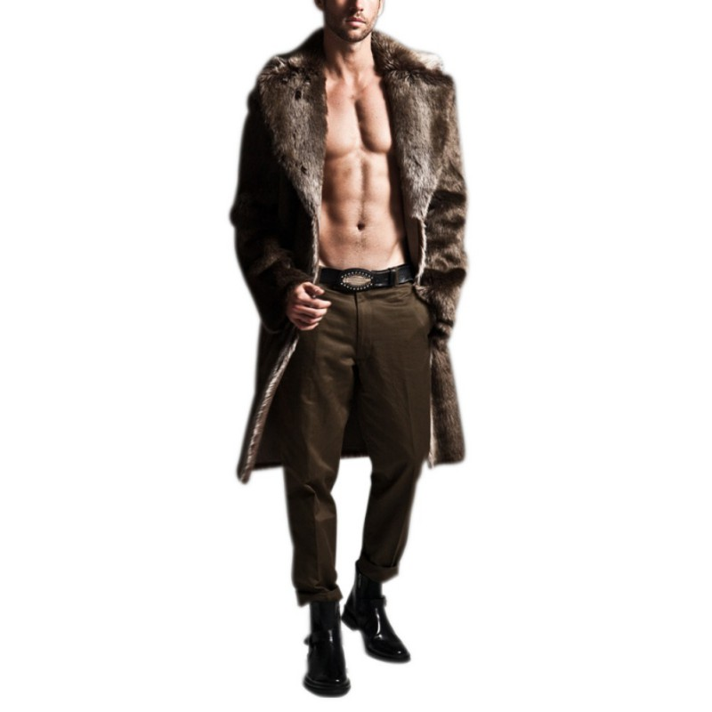 2018 Faux Leather Men Basic Jacket Winter Autumn Warm Imitation Fashion Faux Fur Long Section Coat Imitation Wool Jacket Solid