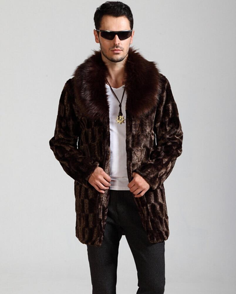 Mens jacket lined with fur - Winter Men Fashion Atmosphere Faux Fur Coat Brown Warm Cozy Casual Mink Fur