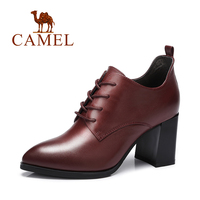 Camel Women Pump Genuine Leather Shoes Pointed Toe High Heel Deep Mouth Ladies Casual Shoes
