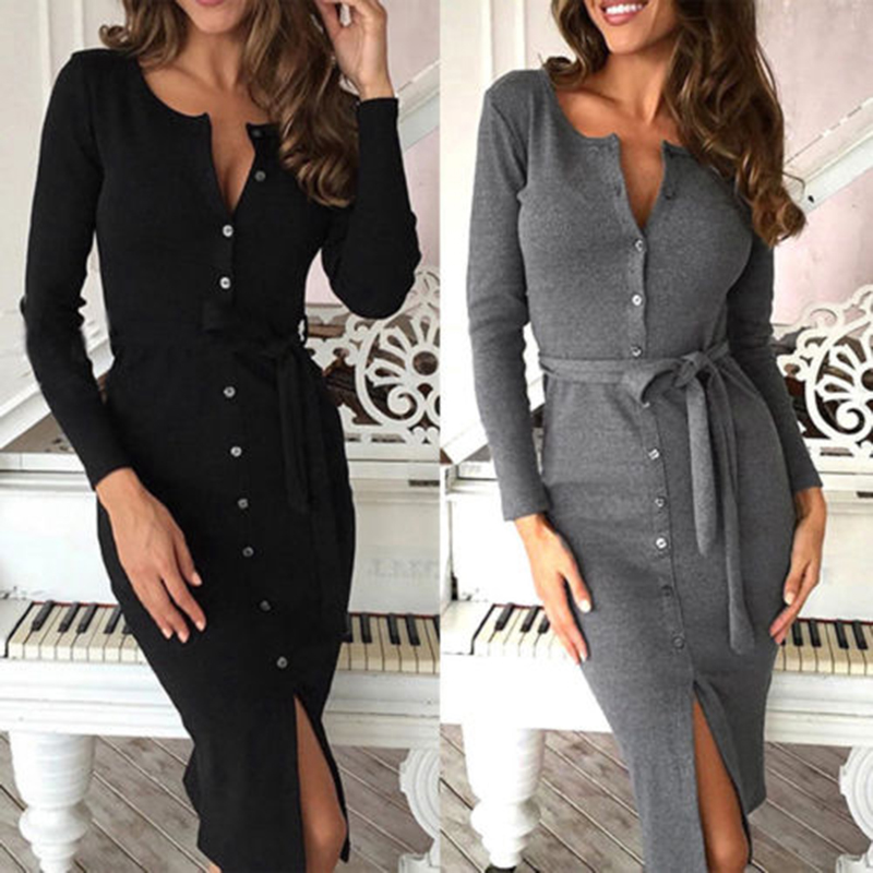 New Autumn Winter Warm Dress Women Sexy Slim Bodycon Dress Female O Neck Long Sleeve Knitted Dress Vestidos