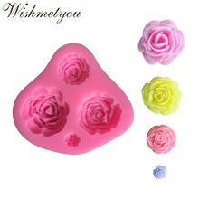 WISHMETYOU 4 Holes Mini Flowers Silicone Mold Rose Shaped Chocolate Cake Decorating Tools Cute 3D Pattern