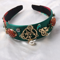 Novos Encantos Do Vintage Barroco Abacaxi Verde Cabeça Faixa de Cabelo de Cristal da Nota Musical Rhinestone Crown Cabelo Jóias Cocar Presente