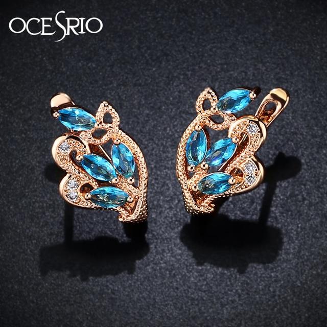 63a48e1d4 OCSERIO Fashion 2019 Gold 585 Blue Zircon Stud Earrings Women Leaf Rose 585  Gold Earrings with