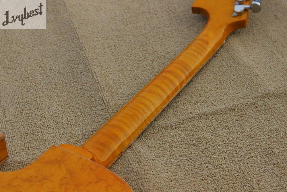 Guitare électrique couleur naturelle oeil d'oiseau haut et arrière flamme, queue de palissandre et pont et pickguard, logo personnalisé et poupée - 6