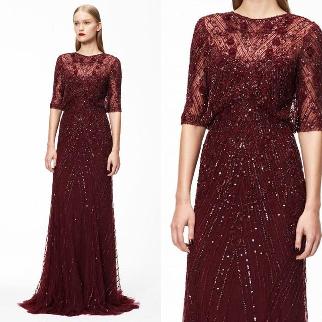 2017 Monique Lhuillier Burgundy Tulle Evening Dresses Luxury Beaded Sequins Prom Pageant Gowns With Sheer Crew