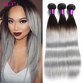 Brazilian Straight Hair 3Pcs/Lot 7A Silver Grey Ombre Virgin Hair 100% Natural Virgin Peruvian Hair Bundles Top Hair Extensions