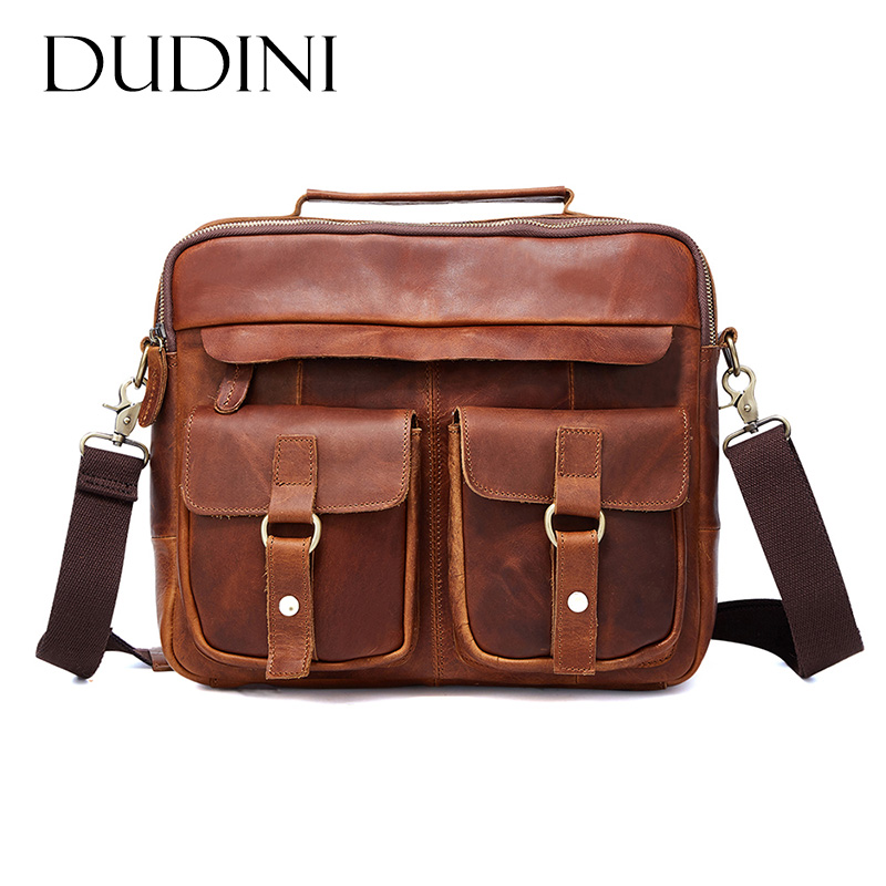 [DUDINI] Business Briefcase Messenger Handbags Men's Travel Bag Vintage Shoulder Tote Genuine Leather Men Bag Men Crossbody Bags men genuine leather bag messenger bag man crossbody large shoulder bag business tote briefcase brand handbags laptop briefcase