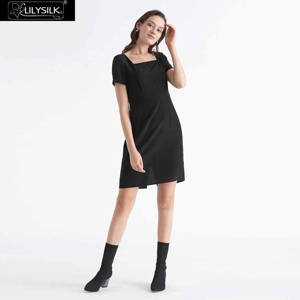 LILYSILK Dress Little Black Silk Retro Style Square Neck Ladies Free  Shipping 04818d2baefa