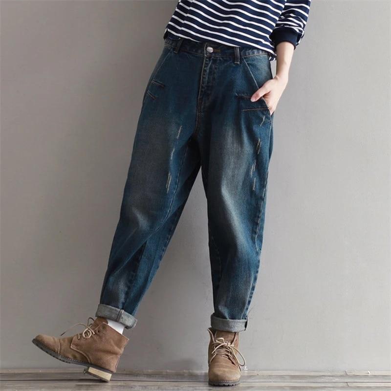Женские джинсы на молнии Johnature, свободные повседневные длинные брюки в Корейском стиле, осень 2020