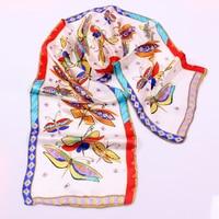 Dragonfly Cartoon Design Real Silk Brocade Silk Scarves 100 Mulberry Silk 130 30 Cm Hair Scarf