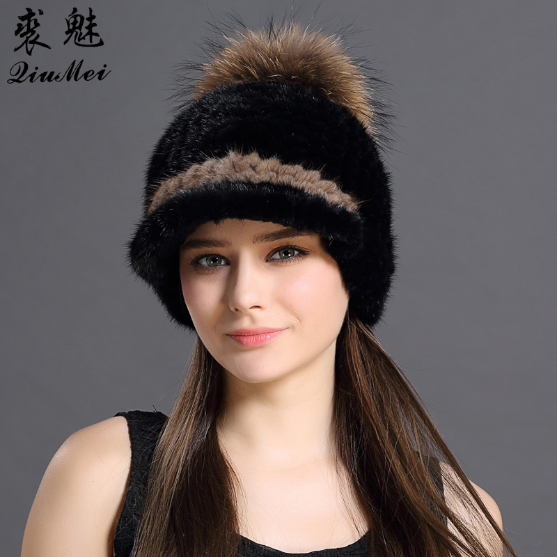 Fashion Thicken Hat Winter Style Mink Fur Knitting Natural Animals With Cute Pompon Cap Patchwork Color