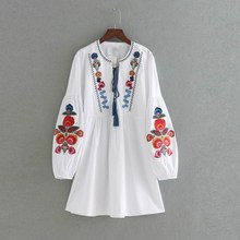 2019 Women Floral Embroidery Dress Casual O Neck Loose Ladies White Long Sleeve Boho Dresses