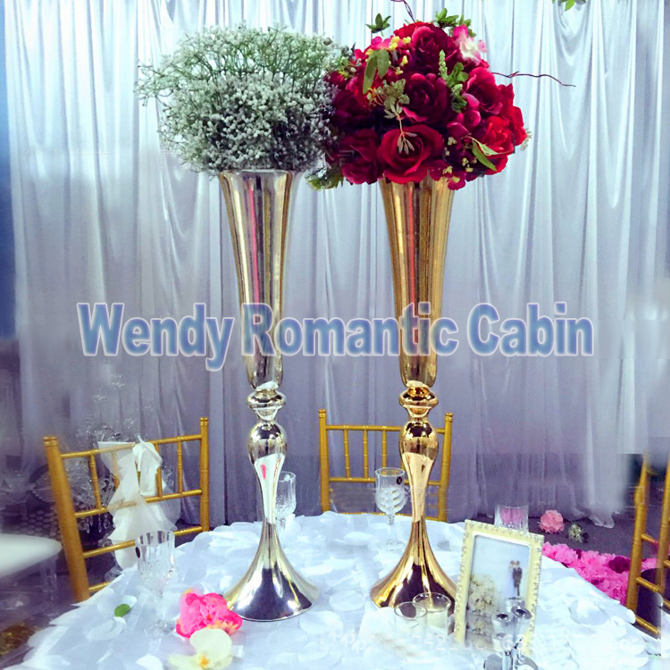 Romantic 10 Pcs 60cm Tall Flower Stand Wedding Table Centerpiececs Sliver Crystal Stages Pillars For Wedding Centerpiece With Led Home Decor