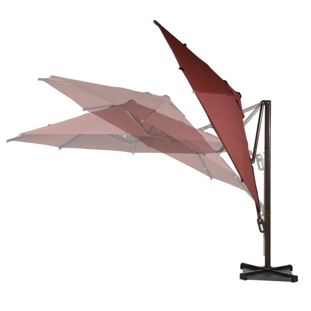 Abba Patio 11 ft Octagon Cantilever Vented Tilt  Crank Lift Patio Umbrella with Cross Base Dark Red