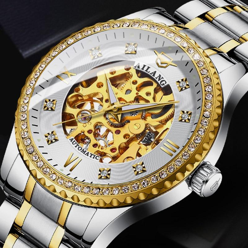AILANG top luxury brand men s steel watch men s mechanical clock waterproof quality watch Switzerland