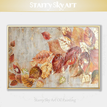 Artist New Design Hand-painted High Quality Golden Leaves Oil Painting on Canvas Wall Art Gold Foil and Red